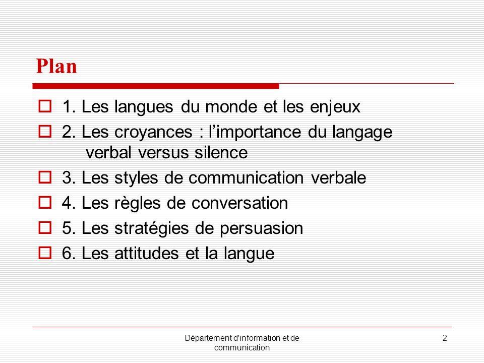 Département d'information et de communication 2 Plan 1. Les langues du monde et les enjeux 2. Les croyances : limportance du langage verbal versus sil