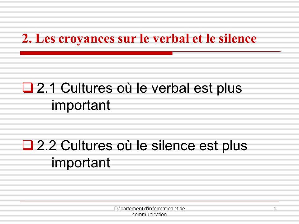 Département d information et de communication 5 2.2.1 Les significations du silence dans la culture japonaise Vérité Discrétion Éviter la désapprobation Éviter lembarras