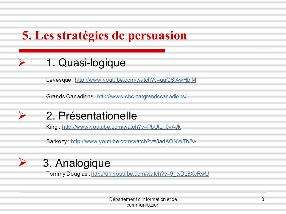 Département d'information et de communication 8 5. Les stratégies de persuasion 1. Quasi-logique Lévesque : http://www.youtube.com/watch?v=qgQSjAwHbjM
