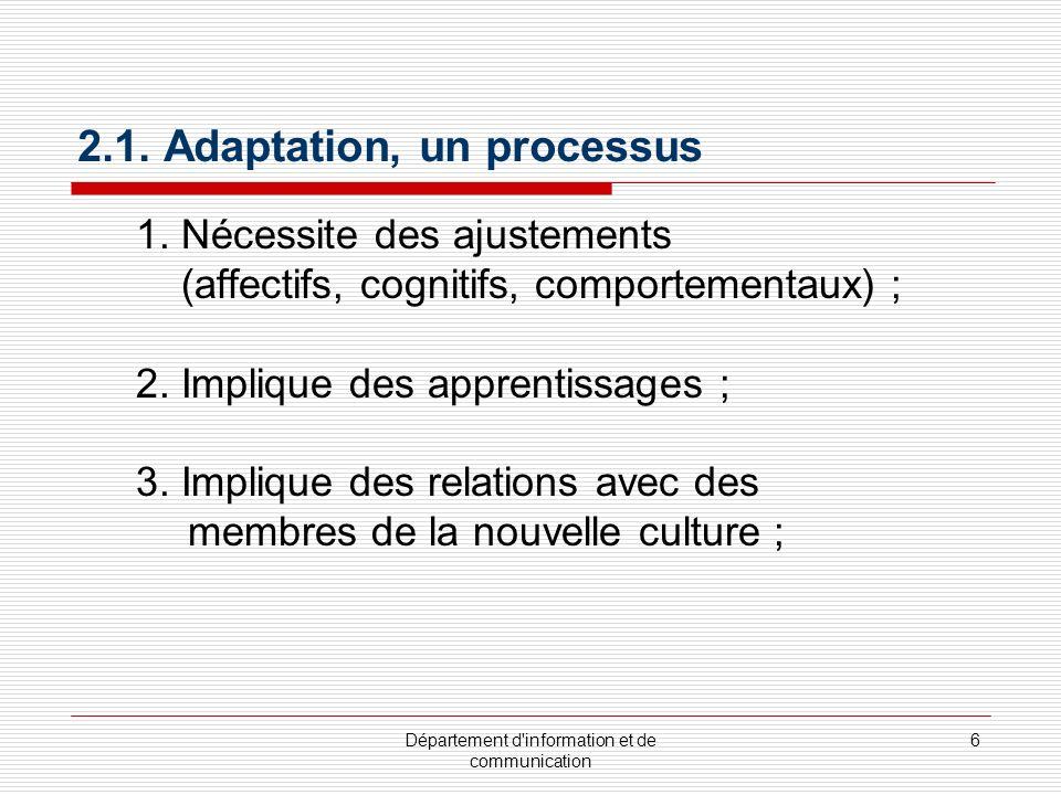 Département d'information et de communication 6 2.1. Adaptation, un processus 1. Nécessite des ajustements (affectifs, cognitifs, comportementaux) ; 2