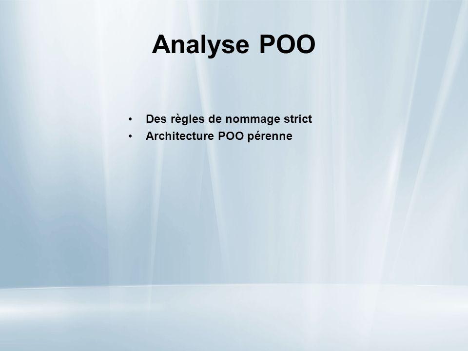 Analyse POO Des règles de nommage strict Architecture POO pérenne