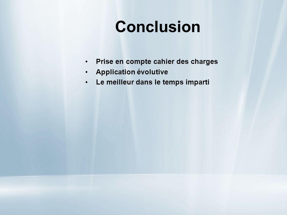 Conclusion Prise en compte cahier des charges Application évolutive Le meilleur dans le temps imparti
