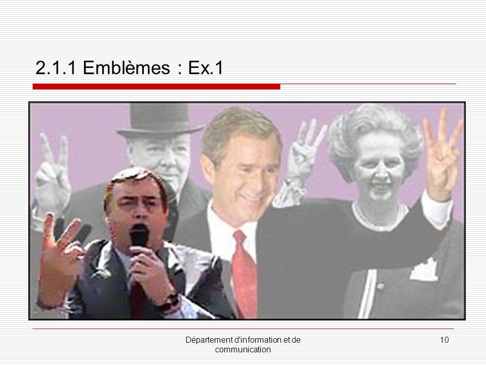 Département d information et de communication 11 2.1.1 Emblèmes : Ex. 2