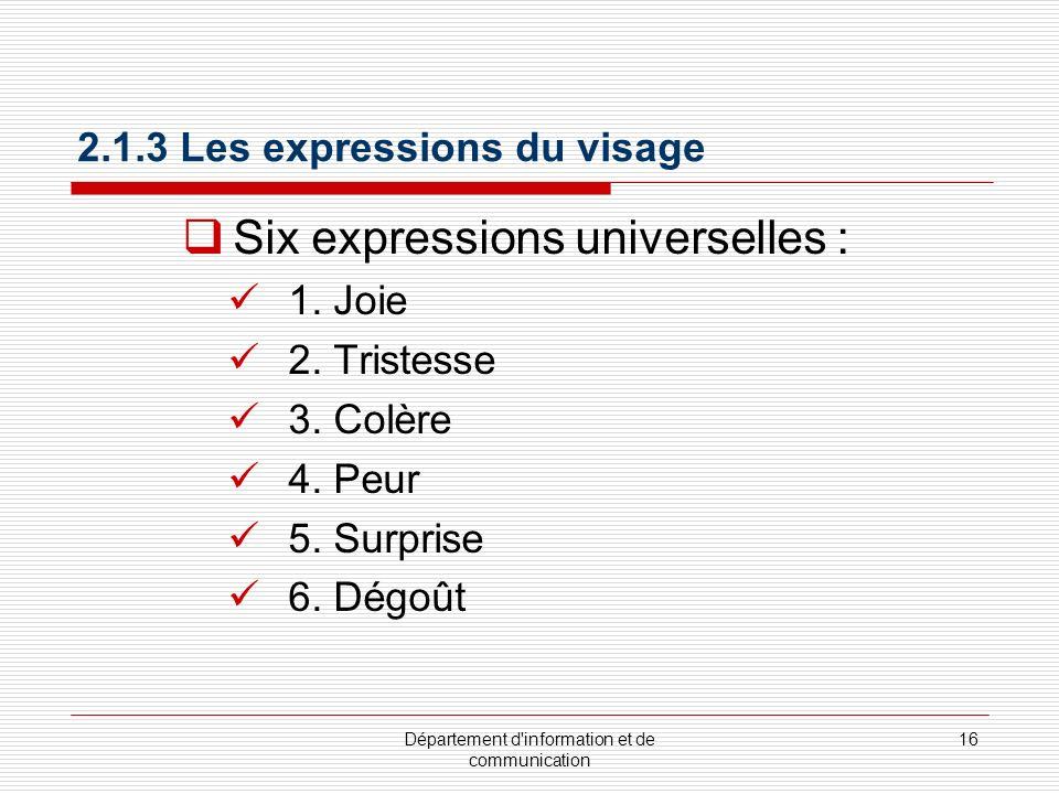 Département d information et de communication 17 2.1.3 Les expressions du visage : Joie