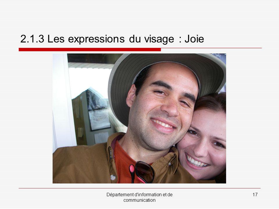 Département d information et de communication 18 2.1.3 Les expressions du visage : Tristesse