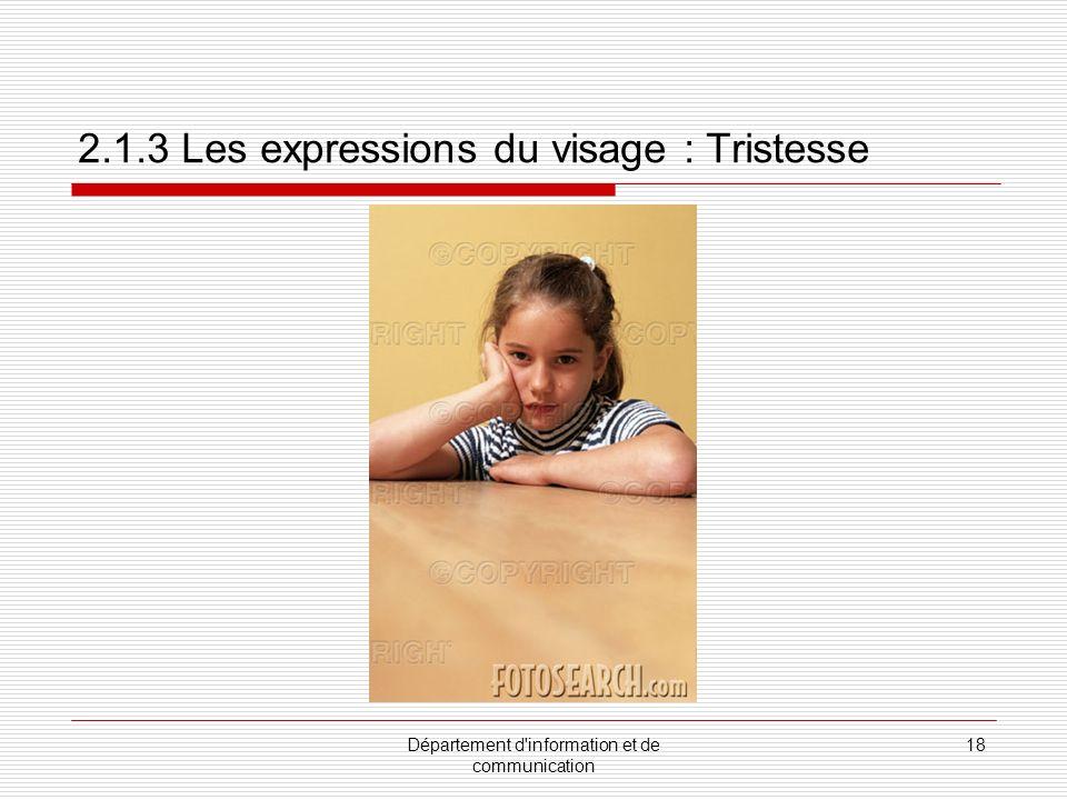 Département d information et de communication 19 2.1.3 Les expressions du visage : Colère