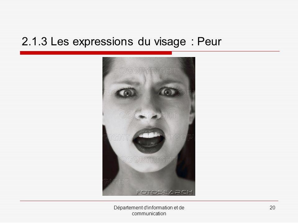 Département d information et de communication 21 2.1.3 Les expressions du visage : Dégoût
