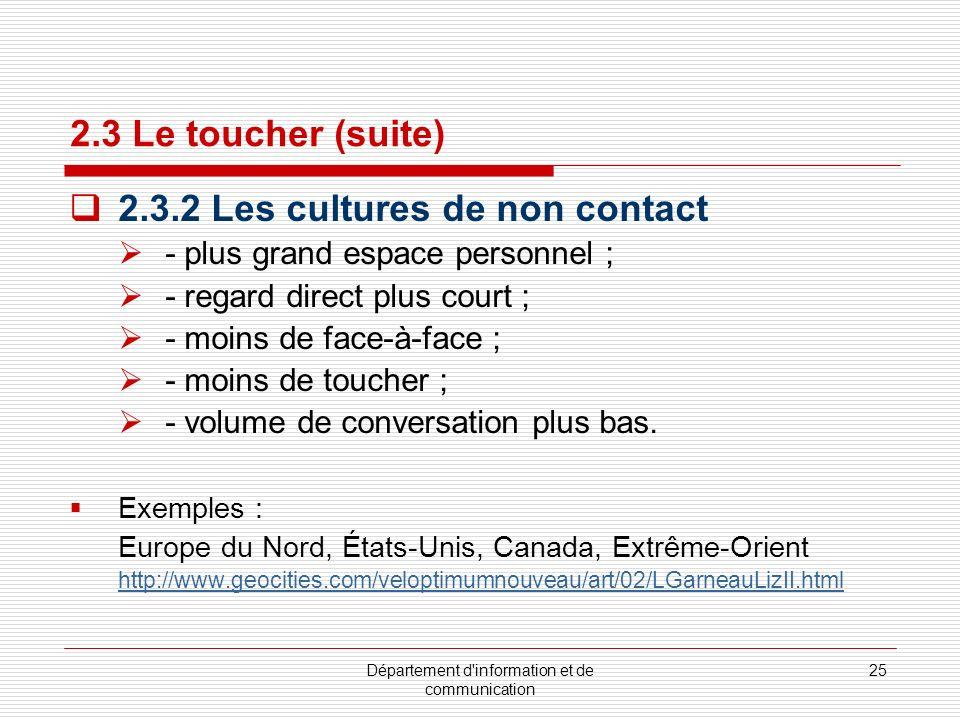 Département d information et de communication 26 2.3.3 Le toucher : salutations Poignée de main : http://en.wikipedia.org/wiki/Handshake http://images.google.com/images?q=handshake&hl=en&client=safari&rls=en&um =1&ie=UTF-8&sa=X&oi=images&ct=title Baiser : http://en.wikipedia.org/wiki/Cheek_kissing#North_America http://fr.wikipedia.org/wiki/Baiser