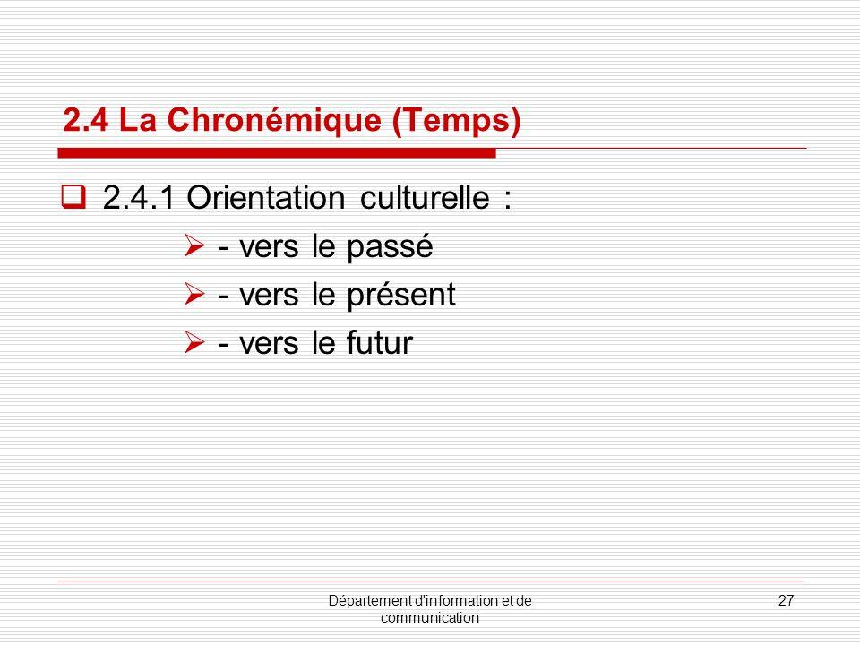 Département d information et de communication 28 2.4 La Chronémique (Temps) 2.4.2 Temps formel vs temps informel E.T.