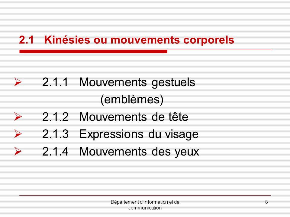 Département d information et de communication 9 Emblèmes remplacent la parole Exemple : Les gestes français http://french.about.com/library/weekly/aa020901a.htm 2.1.1 Mouvements gestuels