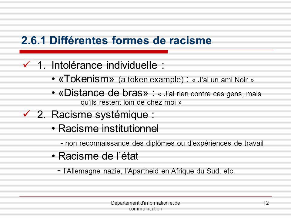 Département d'information et de communication 12 2.6.1 Différentes formes de racisme 1.Intolérance individuelle : «Tokenism» (a token example) : « Jai