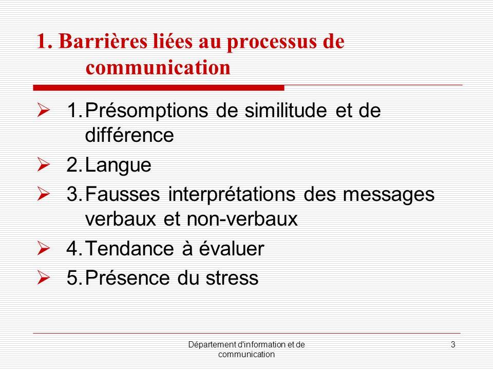 Département d'information et de communication 3 1. Barrières liées au processus de communication 1.Présomptions de similitude et de différence 2.Langu