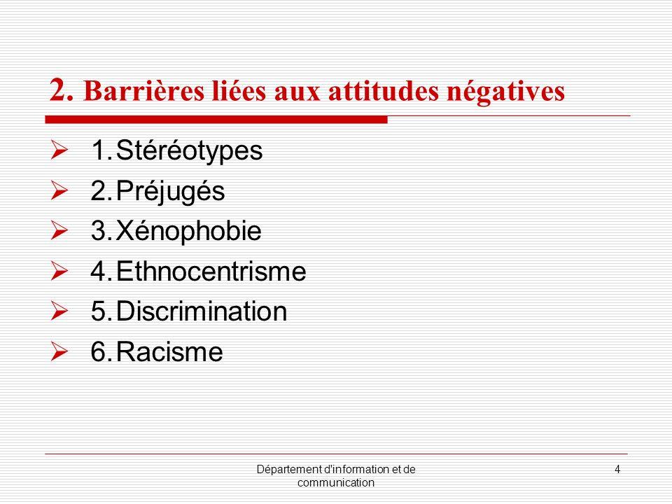 Département d'information et de communication 4 2. Barrières liées aux attitudes négatives 1.Stéréotypes 2.Préjugés 3.Xénophobie 4.Ethnocentrisme 5.Di