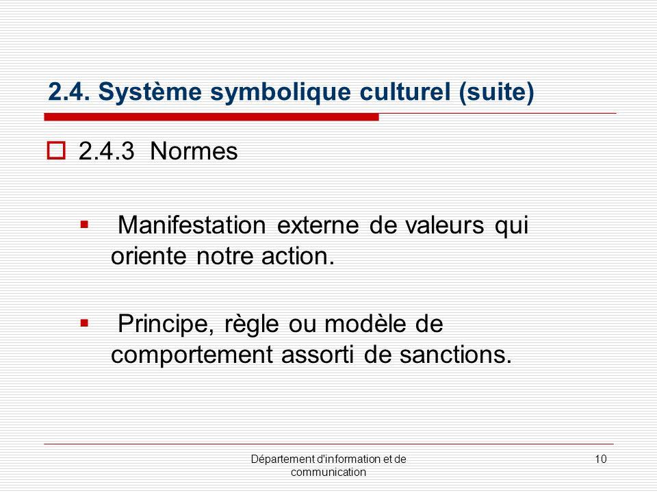 Département d'information et de communication 10 2.4. Système symbolique culturel (suite) 2.4.3 Normes Manifestation externe de valeurs qui oriente no