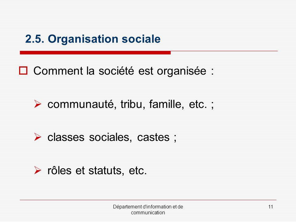 Département d'information et de communication 11 2.5. Organisation sociale Comment la société est organisée : communauté, tribu, famille, etc. ; class