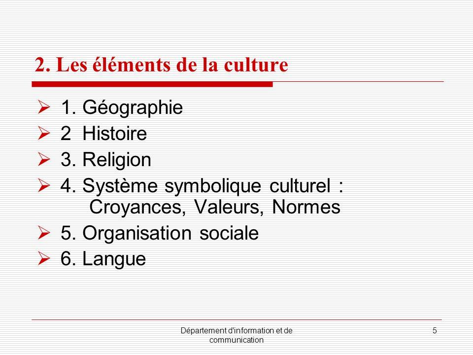 Département d'information et de communication 5 2. Les éléments de la culture 1. Géographie 2 Histoire 3. Religion 4. Système symbolique culturel : Cr