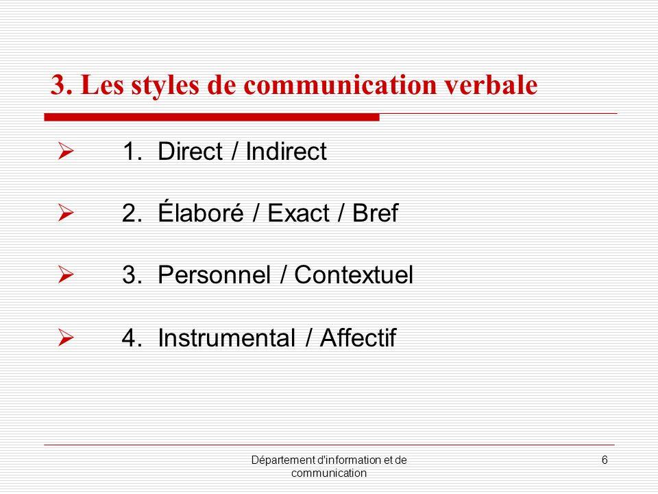 Département d'information et de communication 6 3. Les styles de communication verbale 1. Direct / Indirect 2. Élaboré / Exact / Bref 3. Personnel / C