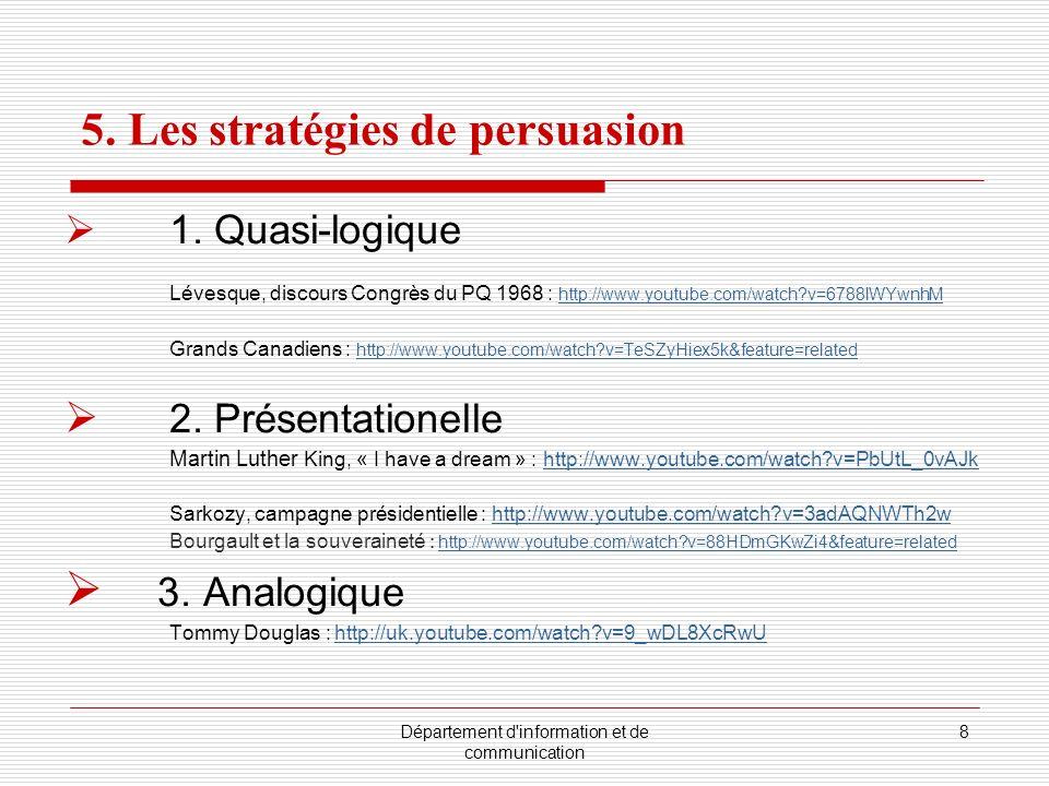 Département d'information et de communication 8 5. Les stratégies de persuasion 1. Quasi-logique Lévesque, discours Congrès du PQ 1968 : http://www.yo
