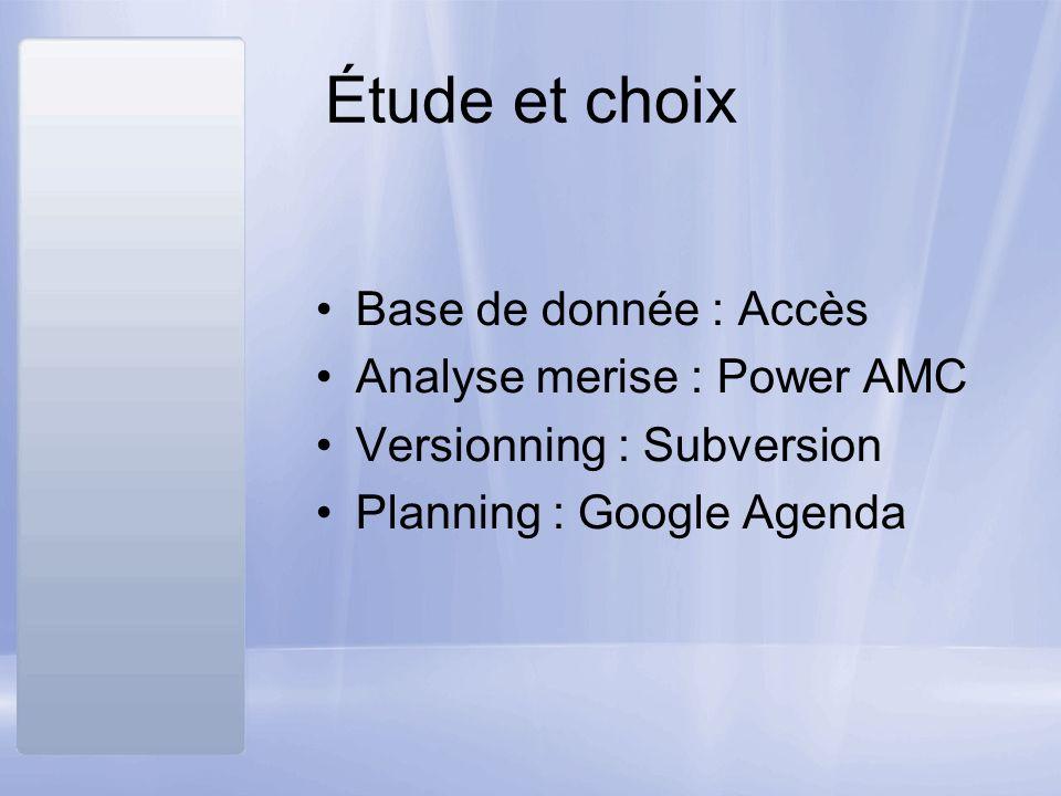 Étude et choix Base de donnée : Accès Analyse merise : Power AMC Versionning : Subversion Planning : Google Agenda
