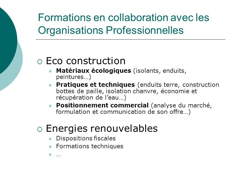 Formations en collaboration avec les Organisations Professionnelles Eco construction Matériaux écologiques (isolants, enduits, peintures…) Pratiques e