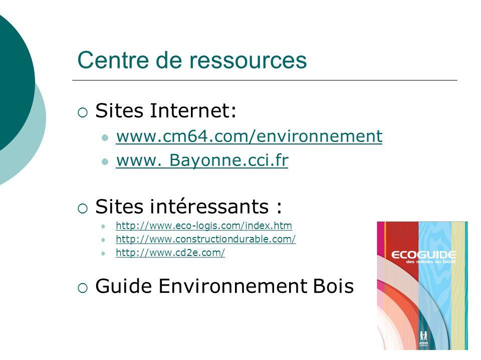 Centre de ressources Sites Internet: www.cm64.com/environnement www. Bayonne.cci.fr Sites intéressants : http://www.eco-logis.com/index.htm http://www