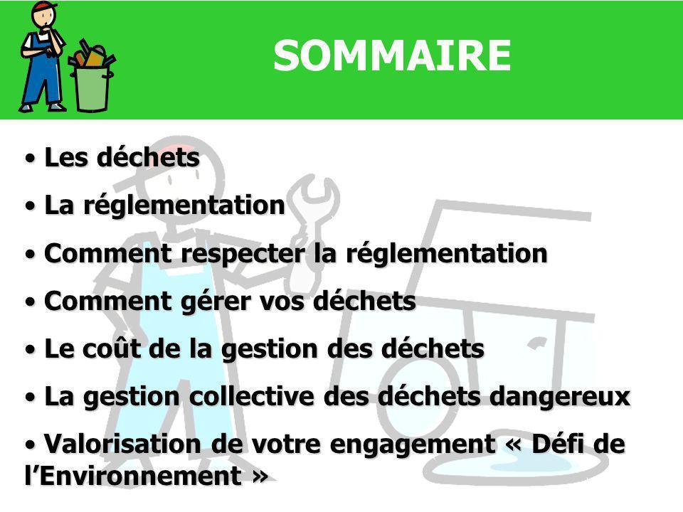 SOMMAIRE Les déchets Les déchets La réglementation La réglementation Comment respecter la réglementation Comment respecter la réglementation Comment g