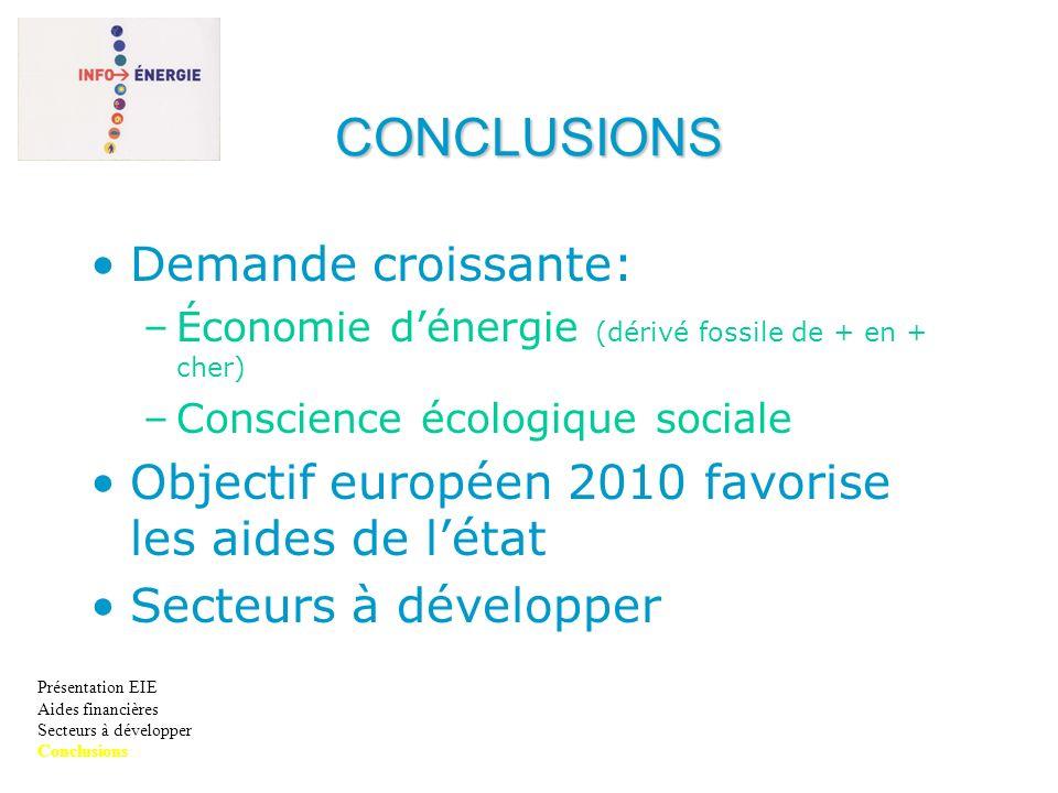 CONCLUSIONS Demande croissante: –Économie dénergie (dérivé fossile de + en + cher) –Conscience écologique sociale Objectif européen 2010 favorise les