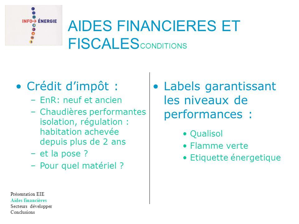 Labels garantissant les niveaux de performances : Qualisol Flamme verte Etiquette énergetique Présentation EIE Aides financières Secteurs développer C