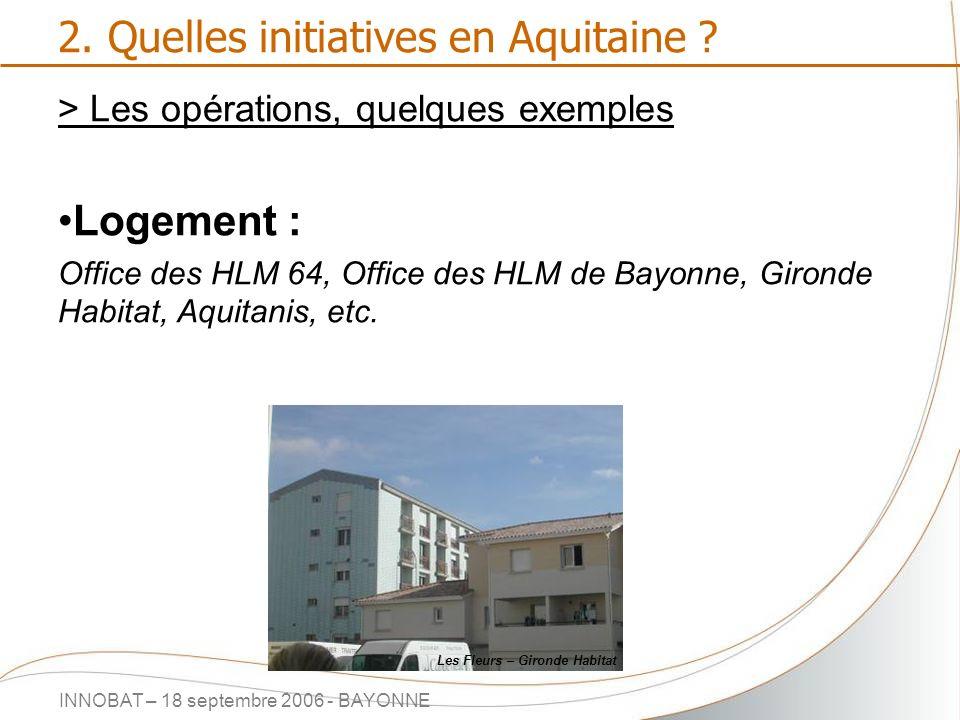INNOBAT – 18 septembre 2006 - BAYONNE 2. Quelles initiatives en Aquitaine ? > Les opérations, quelques exemples Logement : Office des HLM 64, Office d
