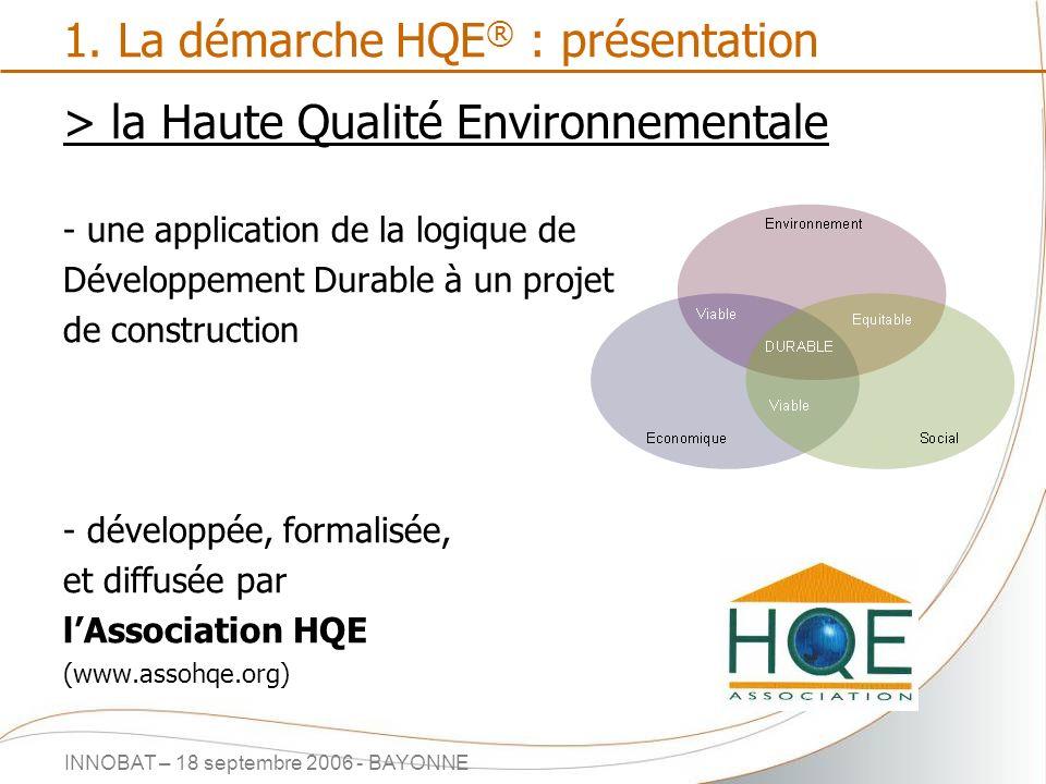 INNOBAT – 18 septembre 2006 - BAYONNE 1. La démarche HQE ® : présentation > la Haute Qualité Environnementale - une application de la logique de Dével