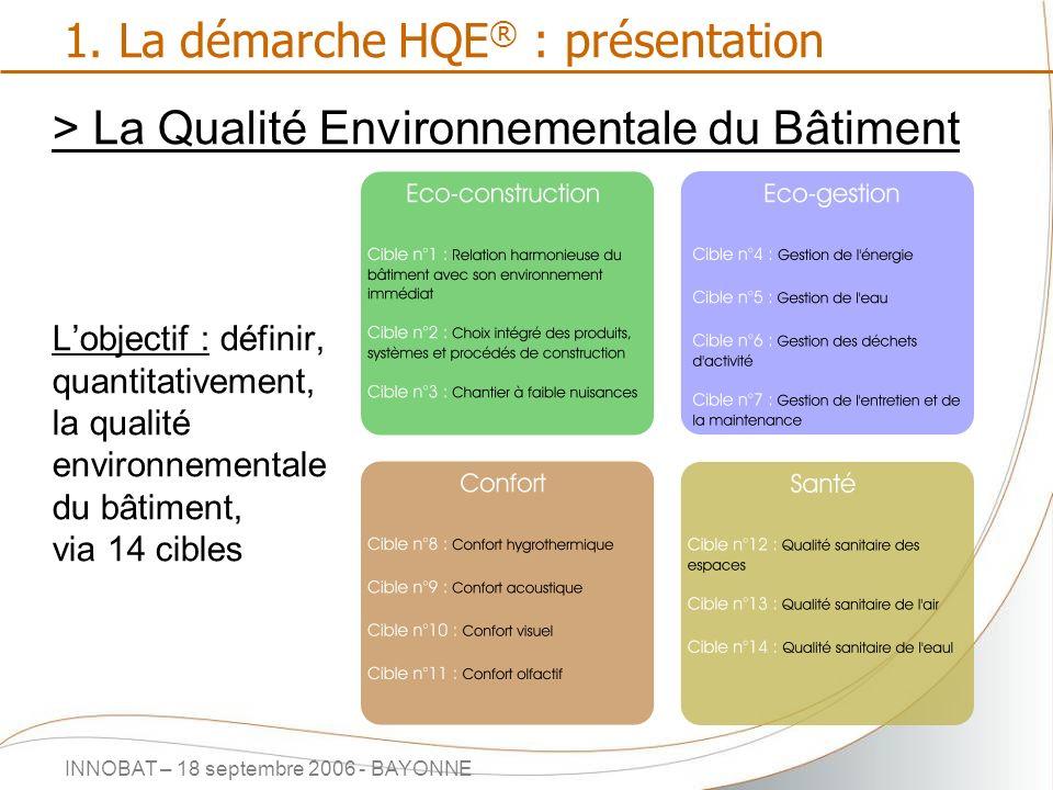 INNOBAT – 18 septembre 2006 - BAYONNE 1. La démarche HQE ® : présentation > La Qualité Environnementale du Bâtiment Lobjectif : définir, quantitativem