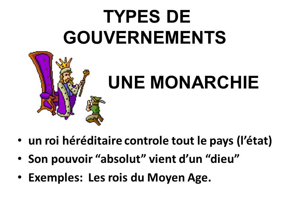 TYPES DE GOUVERNEMENTS UNE MONARCHIE un roi héréditaire controle tout le pays (létat) Son pouvoir absolut vient dun dieu Exemples: Les rois du Moyen A