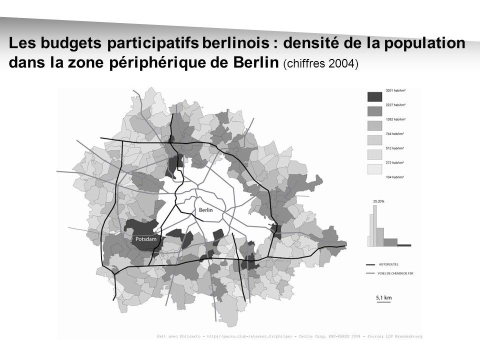 Les budgets participatifs berlinois : densité de la population dans la zone périphérique de Berlin (chiffres 2004)