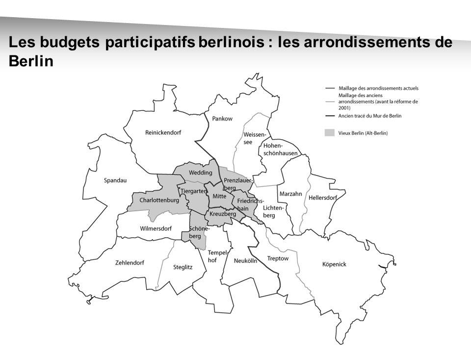 Les budgets participatifs berlinois : représentation simplifiée des trois procédures expérimentées en 2005