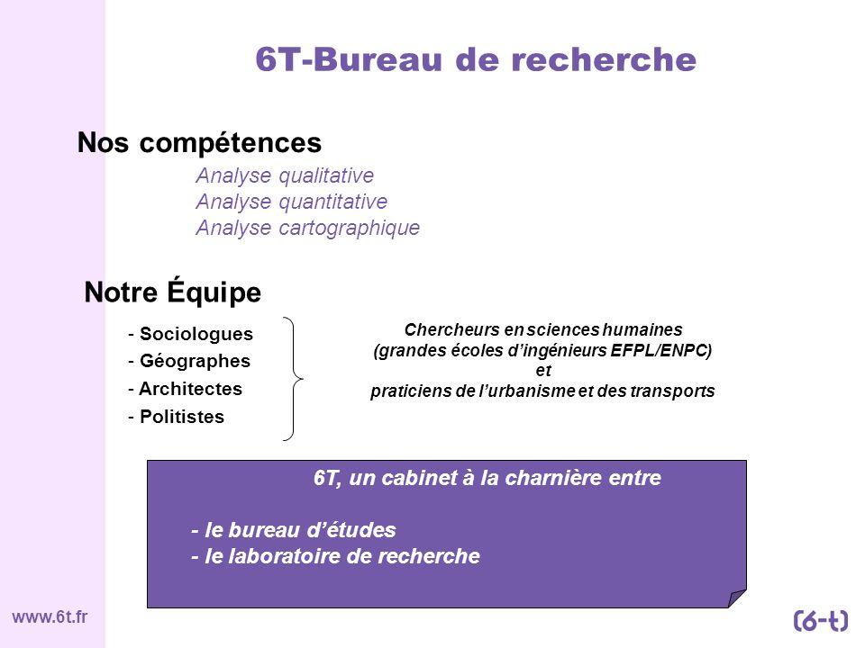 www.6t.fr Notre Équipe - Sociologues - Géographes - Architectes - Politistes Chercheurs en sciences humaines (grandes écoles dingénieurs EFPL/ENPC) et