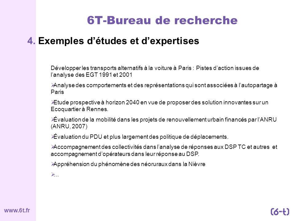 www.6t.fr 4. Exemples détudes et dexpertises 6T-Bureau de recherche Développer les transports alternatifs à la voiture à Paris : Pistes daction issues