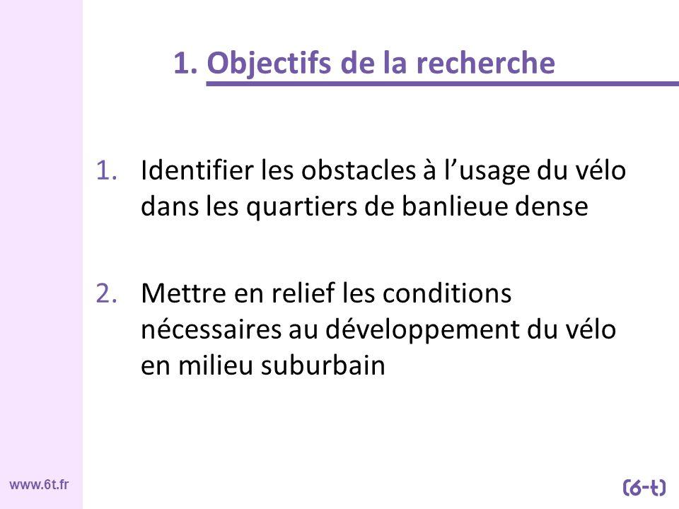 www.6t.fr 1. Objectifs de la recherche 1.Identifier les obstacles à lusage du vélo dans les quartiers de banlieue dense 2.Mettre en relief les conditi