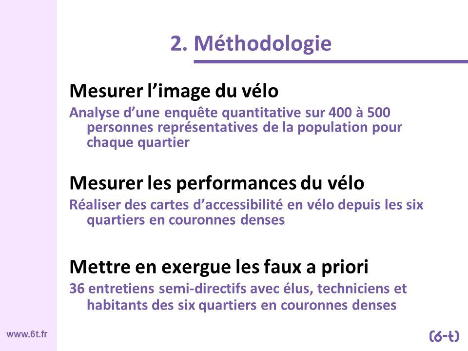 www.6t.fr Mesurer limage du vélo Analyse dune enquête quantitative sur 400 à 500 personnes représentatives de la population pour chaque quartier Mesur