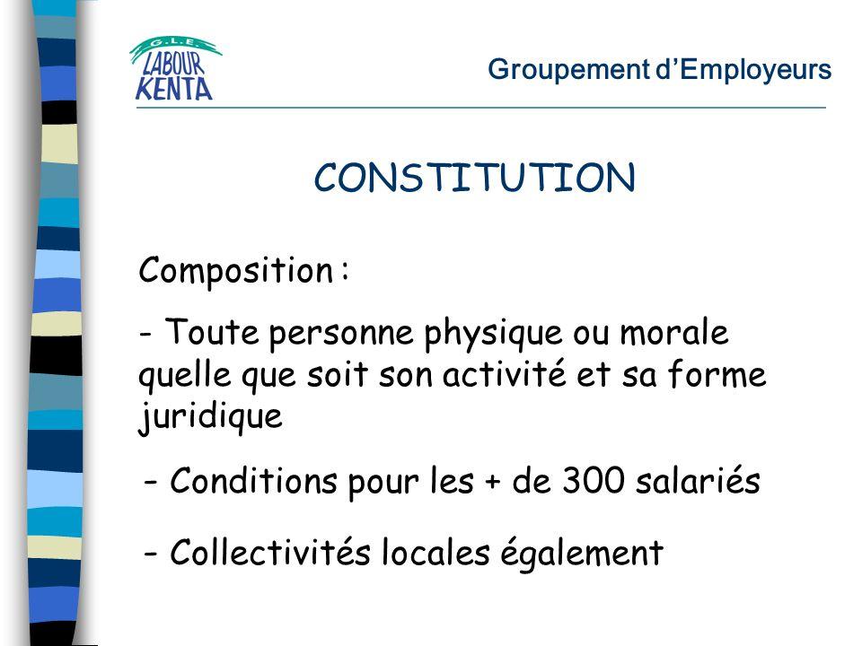 Groupement dEmployeurs Composition : - Toute personne physique ou morale quelle que soit son activité et sa forme juridique - Conditions pour les + de 300 salariés CONSTITUTION - Collectivités locales également