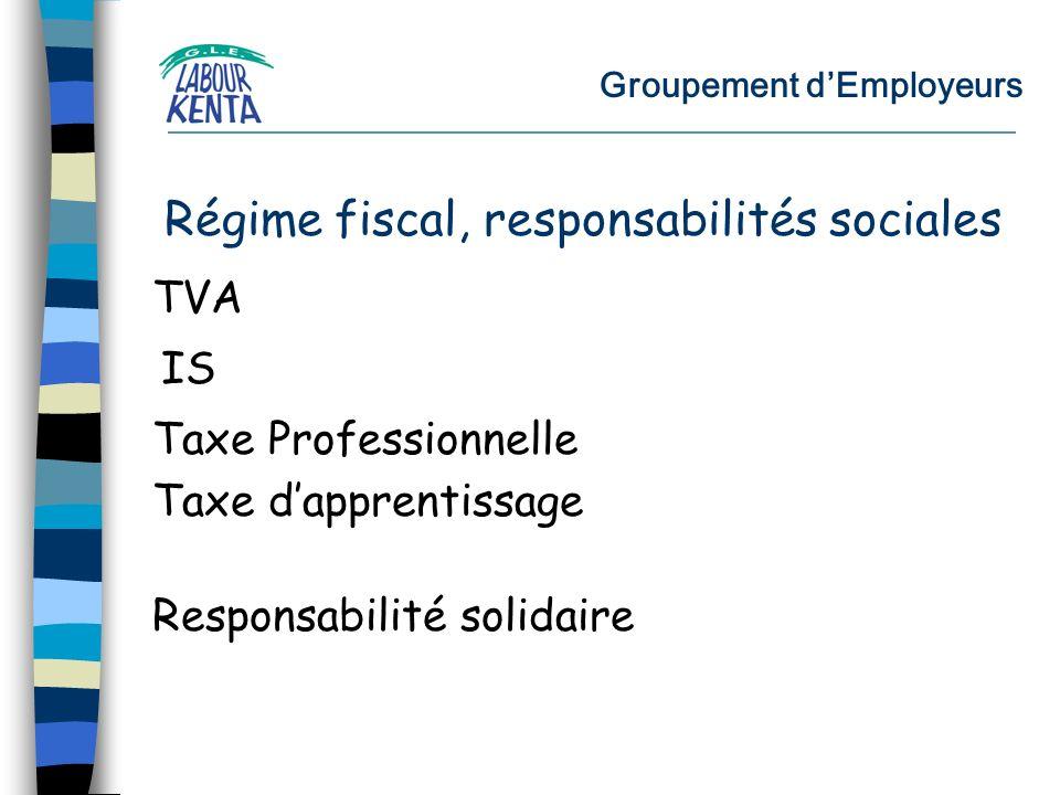 Groupement dEmployeurs TVA Régime fiscal, responsabilités sociales IS Taxe Professionnelle Taxe dapprentissage Responsabilité solidaire