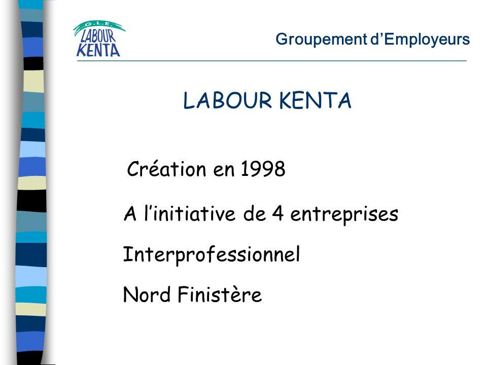 Groupement dEmployeurs Création en 1998 LABOUR KENTA Interprofessionnel Nord Finistère A linitiative de 4 entreprises