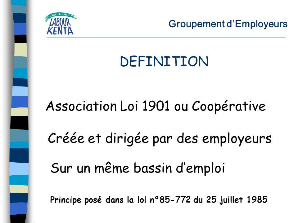 Groupement dEmployeurs Association Loi 1901 ou Coopérative Créée et dirigée par des employeurs Sur un même bassin demploi DEFINITION Principe posé dans la loi n°85-772 du 25 juillet 1985