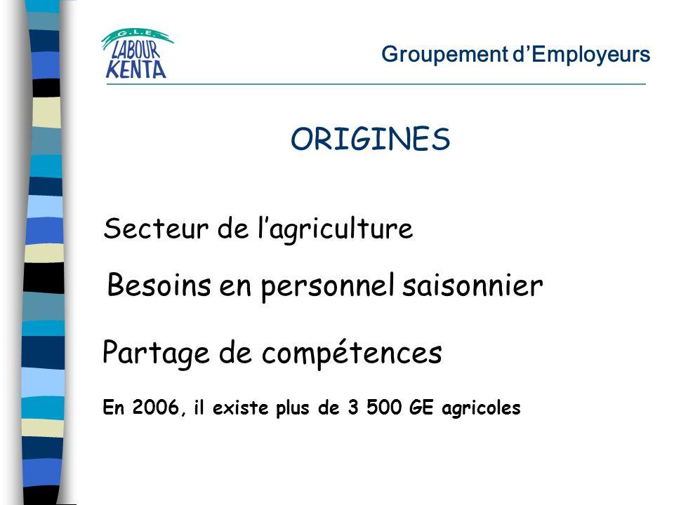Groupement dEmployeurs Secteur de lagriculture Besoins en personnel saisonnier Partage de compétences ORIGINES En 2006, il existe plus de 3 500 GE agricoles