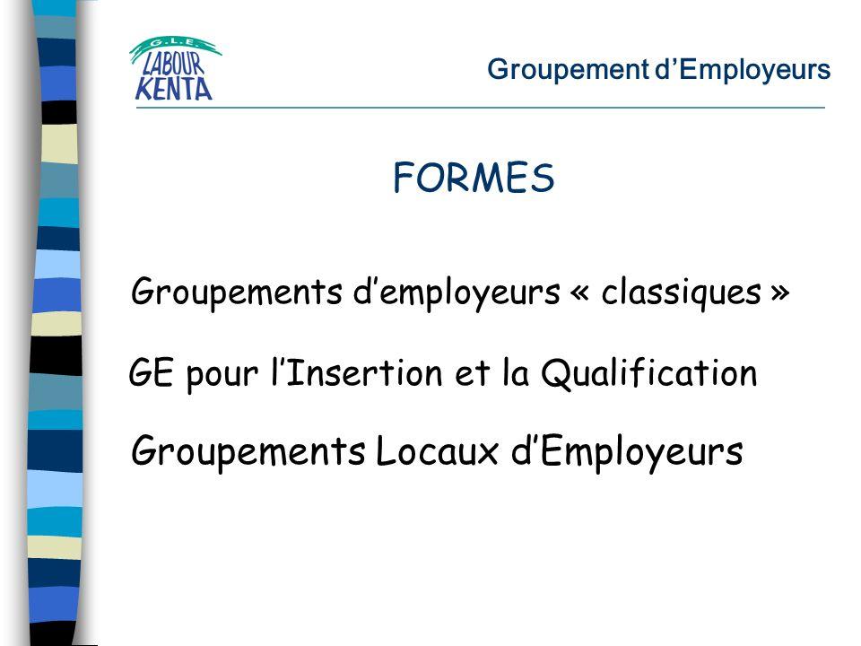 Groupement dEmployeurs Groupements demployeurs « classiques » GE pour lInsertion et la Qualification Groupements Locaux dEmployeurs FORMES