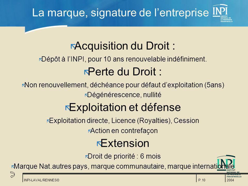2004 INPI-LAVAL/RENNES©P.10 La marque, signature de lentreprise ã Acquisition du Droit : ã Dépôt à lINPI, pour 10 ans renouvelable indéfiniment. ã Per