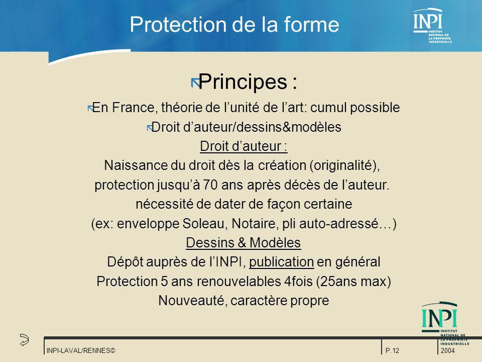 2004 INPI-LAVAL/RENNES©P.12 Protection de la forme ã Principes : ã En France, théorie de lunité de lart: cumul possible ã Droit dauteur/dessins&modèle