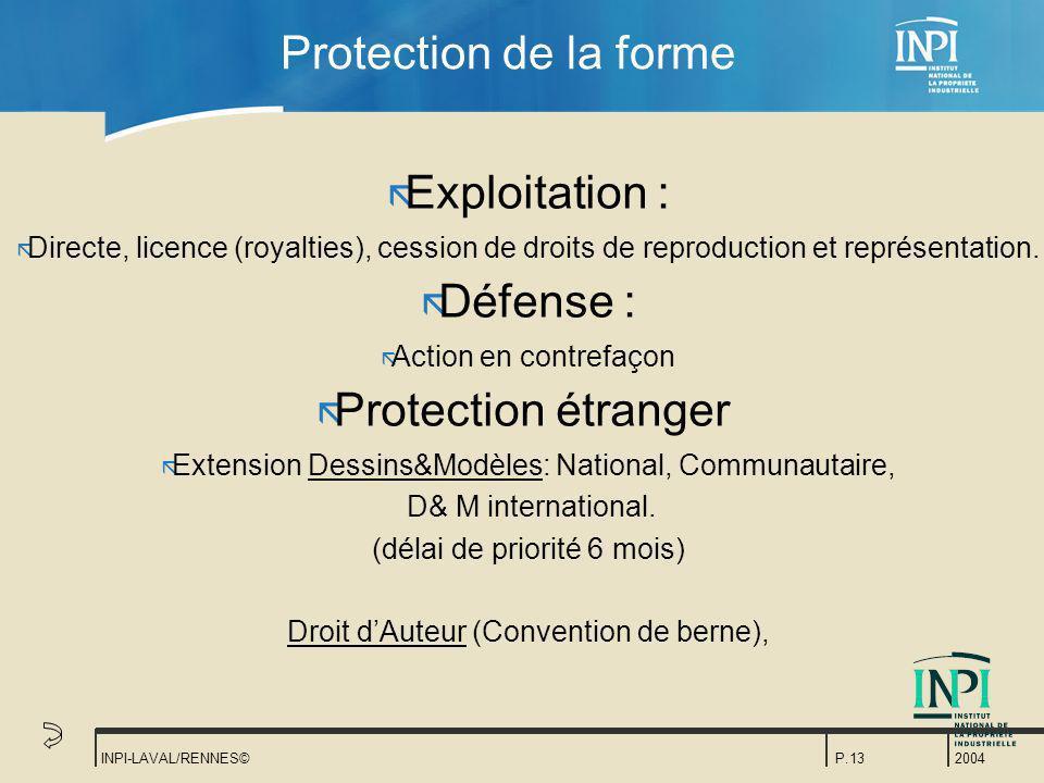 2004 INPI-LAVAL/RENNES©P.13 Protection de la forme ã Exploitation : ã Directe, licence (royalties), cession de droits de reproduction et représentatio