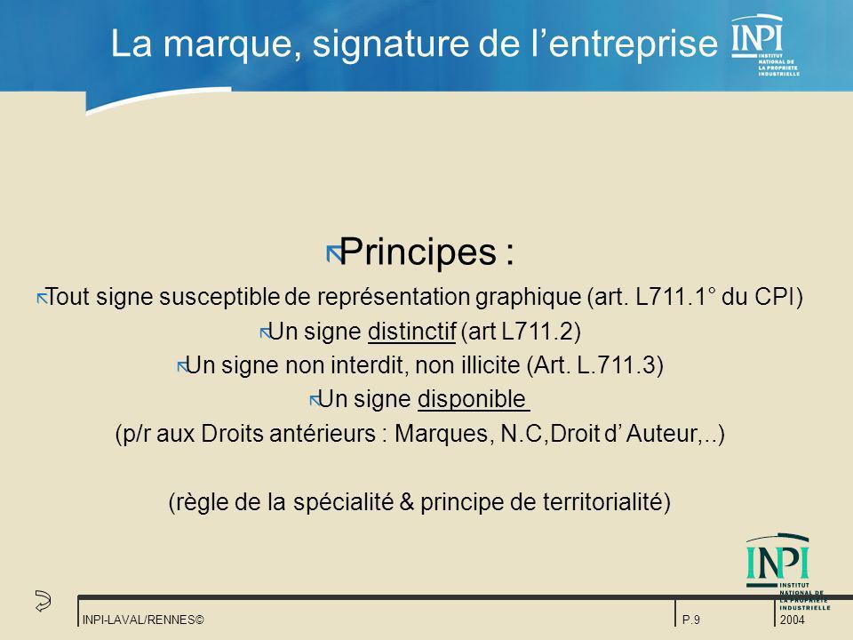 2004 INPI-LAVAL/RENNES©P.9 La marque, signature de lentreprise ã Principes : ã Tout signe susceptible de représentation graphique (art. L711.1° du CPI