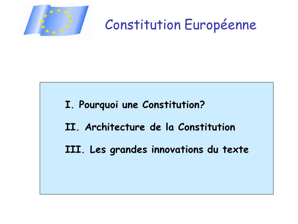 Constitution Européenne I. Pourquoi une Constitution? II. Architecture de la Constitution III. Les grandes innovations du texte