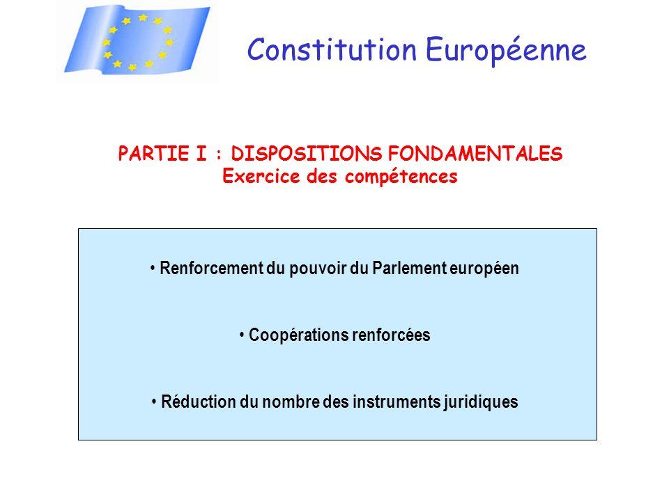Constitution Européenne PARTIE I : DISPOSITIONS FONDAMENTALES Exercice des compétences Renforcement du pouvoir du Parlement européen Coopérations renforcées Réduction du nombre des instruments juridiques